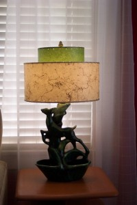 1950s lamp with reproduction fiberglass lampshade