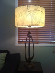 picture of large drum lampshade on vintage lamp