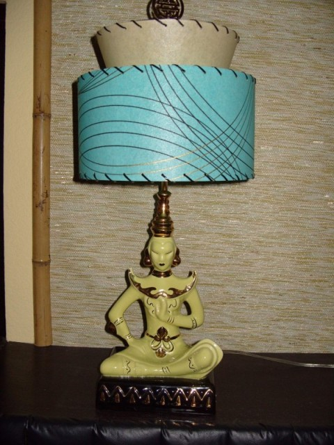 image of Vintage Oriental Lamp and Custom Lampshade