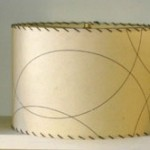 picture of cream drum lampshade with whipstitching