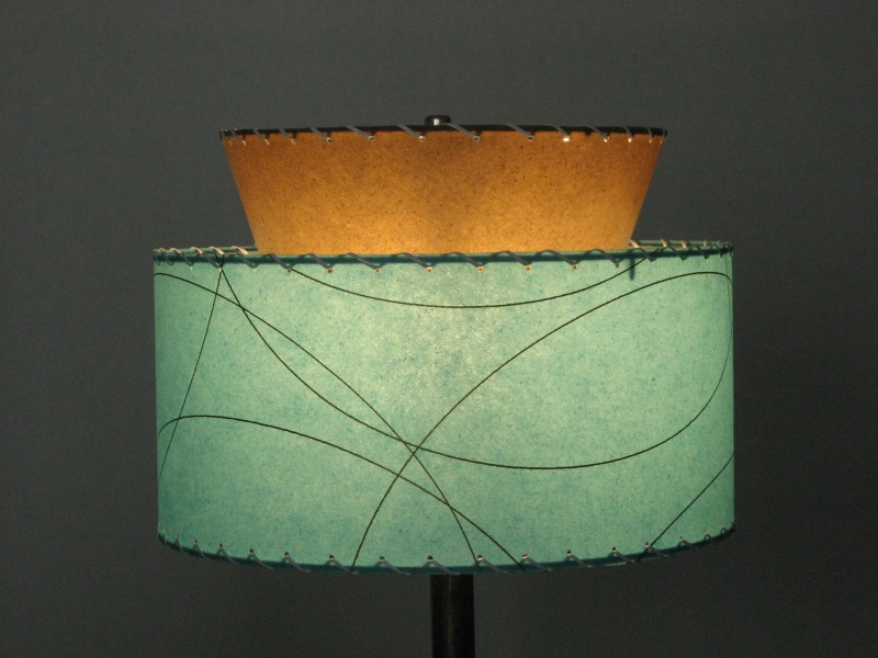 Reproduction fiberglass lampshade atomic 2 tier meteor for Mid century modern lighting reproductions