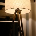 retro lampshade on vintage tripod lamp