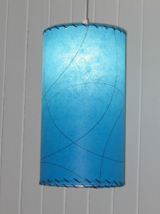 small hanging blue lamp