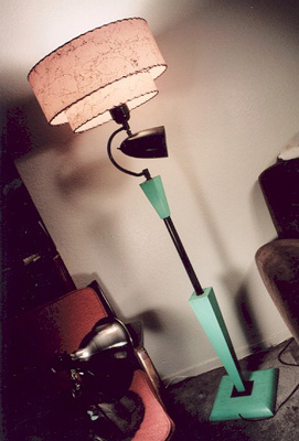 image of 1950s shade on vintage floor lamp