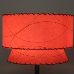 image of red midcentury fiberglass lampshade