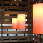 picture of restaurant pendant lampsin a row
