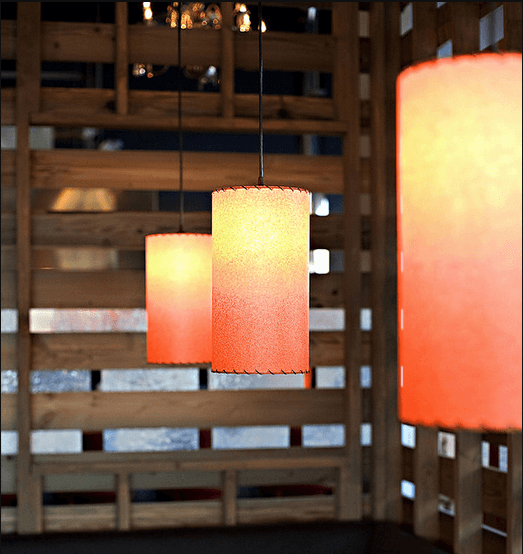 restaurant pendant lamps suspended in a row