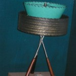 vintage lamp with tripod base