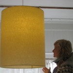photo of restaurant light fixture / large barrel shade lamp